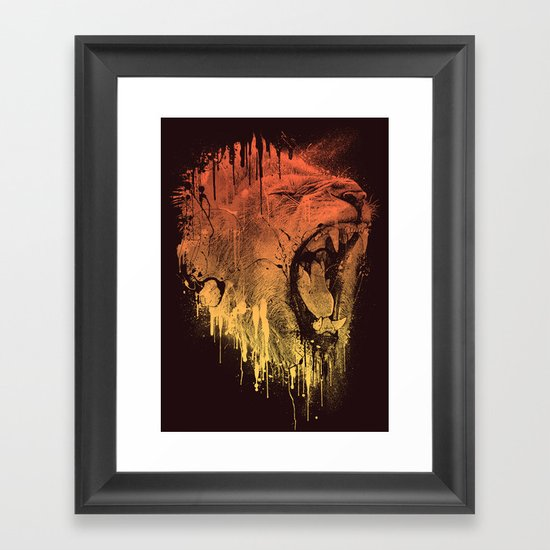 FIERCE LION Framed Art Print