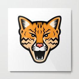 Ocelot Head Front Mascot Metal Print