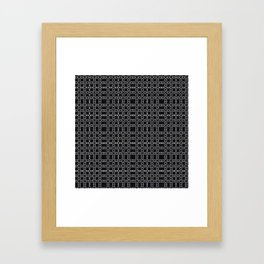 Black with White Stitching Tiled Pattern Framed Art Print
