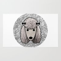 poodle Area & Throw Rugs featuring Poodle Dog by lllg