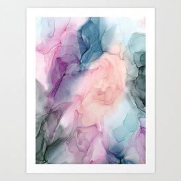 Dark and Pastel Ethereal- Original Fluid Art Painting Art Print
