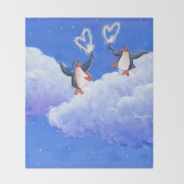 penguins spread love with sparklers Throw Blanket