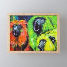 Urban Street Art: Screaming Fluorescent Monkeys Framed Mini Art Print