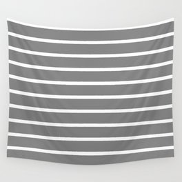 Horizontal Lines (White/Gray) Wall Tapestry