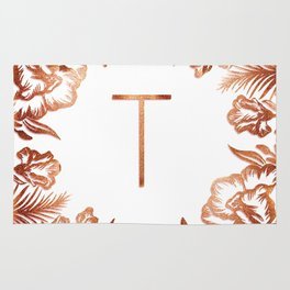 Letter T - Faux Rose Gold Glitter Flowers Rug