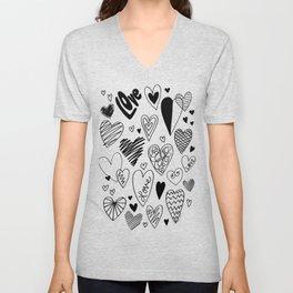 Cute Doodle Hearts Unisex V-Neck