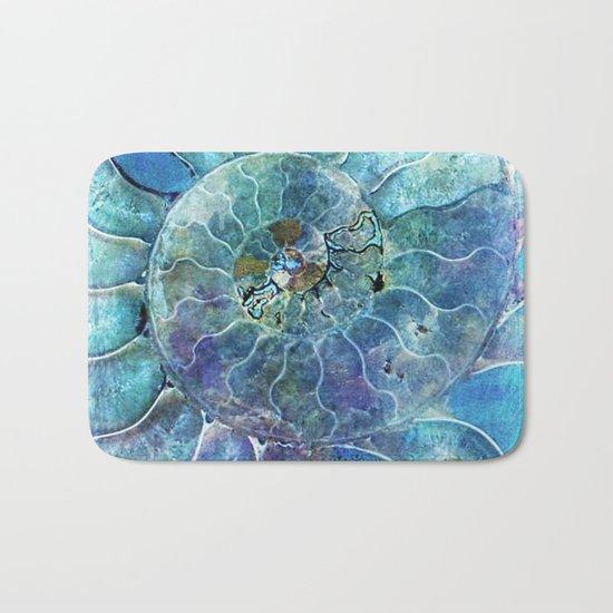 Aqua seashell -mother-of-pearl - Beautiful backdrop on #Society6 Bath Mat