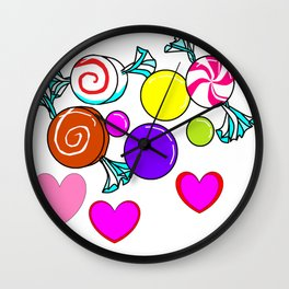 Peppermint, Caramel, Bubble Gum, Candies with Hearts Wall Clock