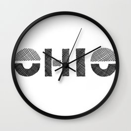 Ohio Black and White Wall Clock