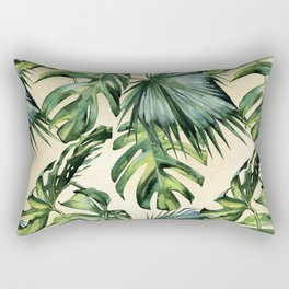 Palm Leaves Greenery Linen Rectangular Pillow