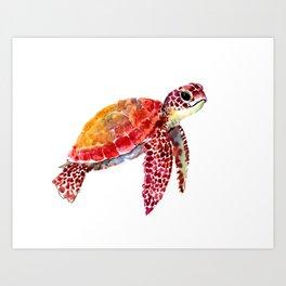 Baby Turtle decor, nursery art decor children room orange red Art Print