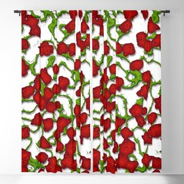 Stylized Climbing Red Roses and Vines Blackout Curtain