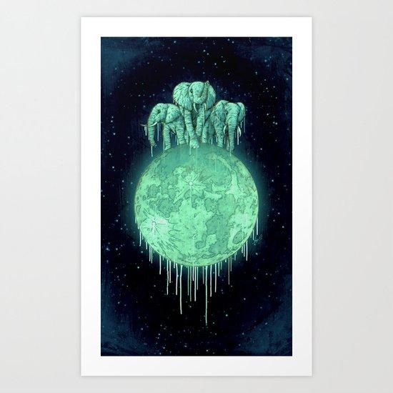 elephants on moon (variant) mint Art Print