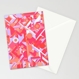 GEOMETRY SHAPES PATTERN PRINT (WARM RED LAVENDER COLOR SCHEME) Stationery Cards