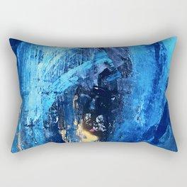 Vortex: a vibrant, blue and gold abstract mixed-media piece Rectangular Pillow