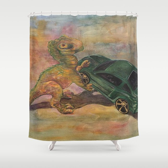 Dino Toy With Mustang Shower Curtain By Kuallidesigns