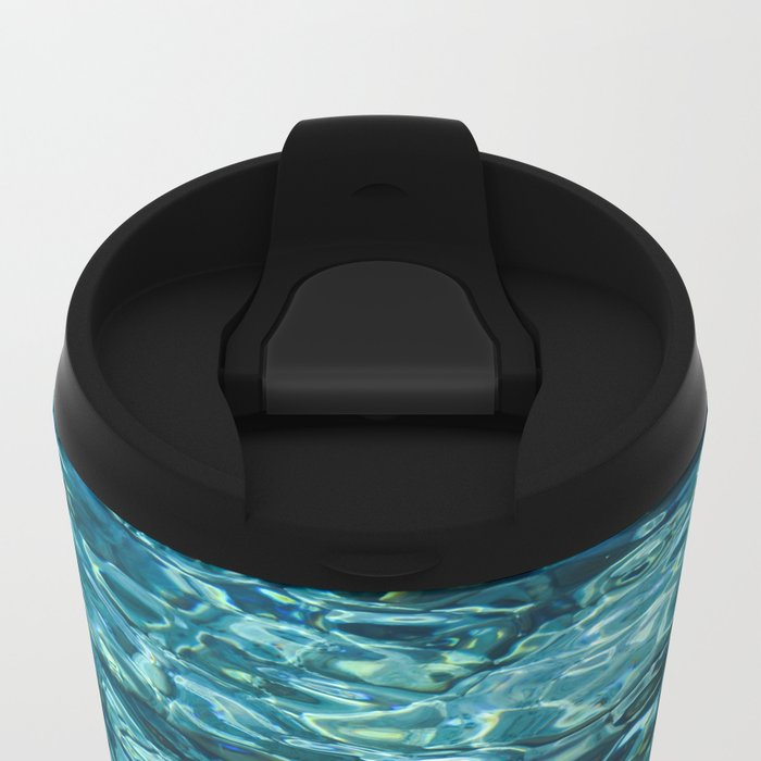 Crystal Blue Ripple Metal Travel Mug