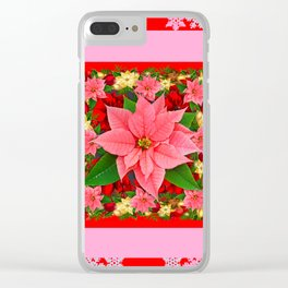 PINK SNOWFLAKES RED & PINK POINSETTIAS CHRISTMAS ART Clear iPhone Case
