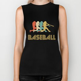 Baseball Batter Retro Pop Art Graphic Biker Tank