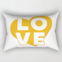 LOVE & heart // mustard Rectangular Pillow