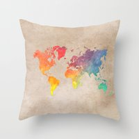 world maps Throw Pillows featuring World Map Maps by jbjart