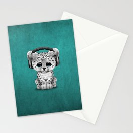 Cute Snow leopard Cub Dj Wearing Headphones on Blue Stationery Cards