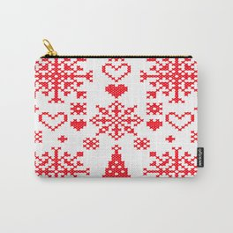 Christmas Cross Stitch Embroidery Sampler Red And White Carry-All Pouch