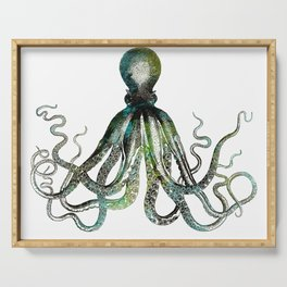 Octopus marine life watercolor art Serving Tray
