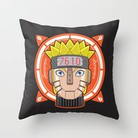 naruto Throw Pillows featuring Mecha Naruto by Enrique Valles