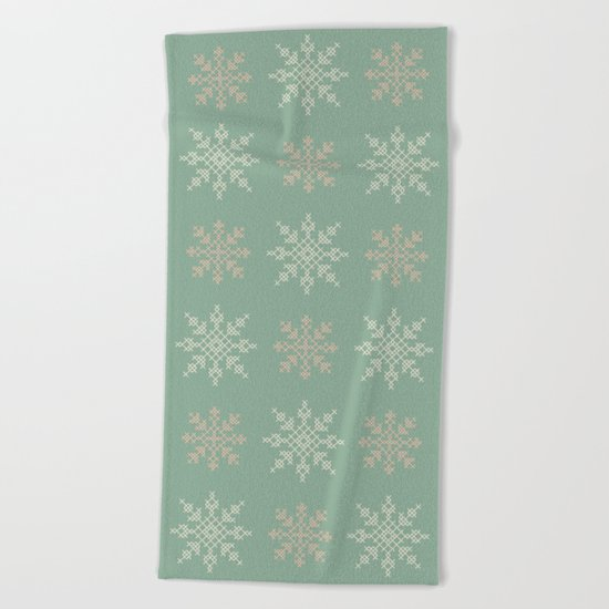 Snowflakes Cross Stitch Pattern (Mint) Beach Towel