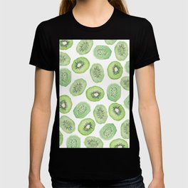 Artsy watercolor neo mint black kiwi fruit pattern T-shirt