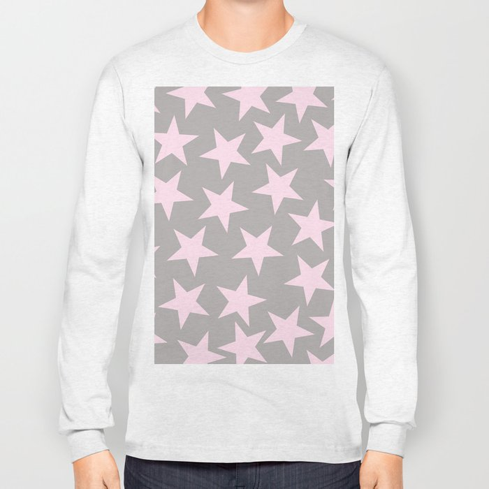 Pink stars on grey background on #Society6 Long Sleeve T-shirt