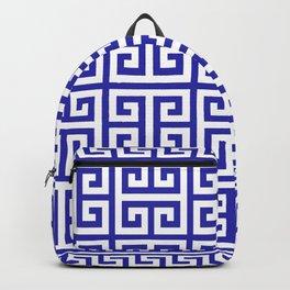 Greek Key (Navy Blue & White Pattern) Backpack