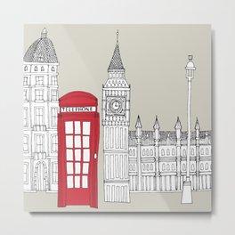 London Red Telephone Box Metal Print