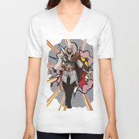 lichtenstein V-neck T-shirts featuring Assassisn Creed Ezio with a Roy Lichtenstein background by Peter Brown