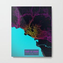 Port of Spain City Map of Trinidad and Tobago - Neon Metal Print