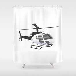 Black and White Helicopter Shower Curtain