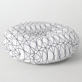 Simple geometric diamonds and triangles pattern in black and white Floor Pillow
