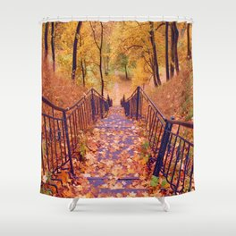 Stairs in the Fall Shower Curtain