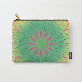 Pink Sunbeam & Green Circle Mandala Carry-All Pouch