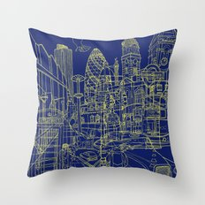 London! Navy Throw Pillow