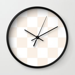 Large Checkered - White and Linen Wall Clock