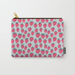 Strawberry Obsession Rustic Blue Carry-All Pouch