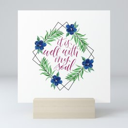 Well With My Soul Geometric Floral Watercolor Mini Art Print
