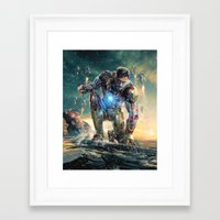 ironman Framed Art Prints featuring Ironman by crayonide