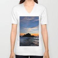 big sur V-neck T-shirts featuring Big Sur sunset  by davehare