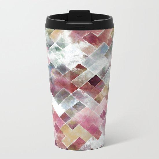 Moody watercolor patchwork Metal Travel Mug