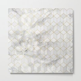 White Marble with Gold Cube Pattern Metal Print