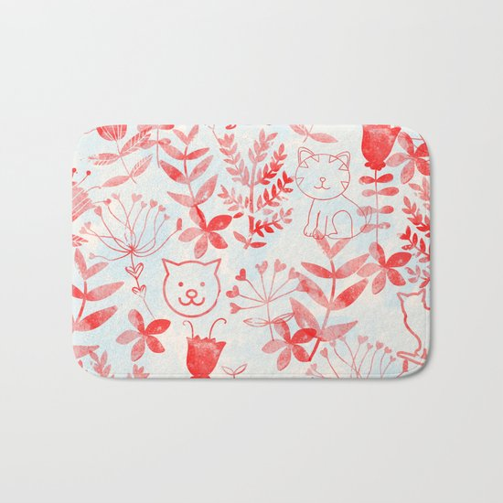 Watercolor Floral & Cat Bath Mat