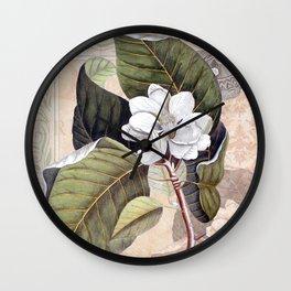 Vintage White Magnolia Wall Clock